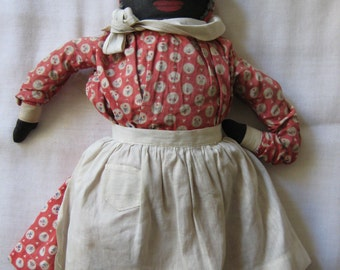 Antique Black Rag Doll in Excellent Condition  c1900
