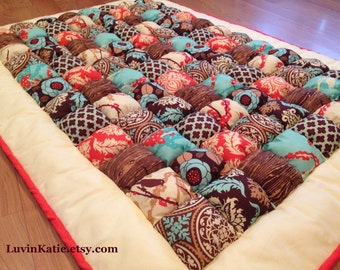 Bubble Quilt Puff Quilt Biscuit Quilt Lap Quilt Joel Dewberry Aviary2 in Coral, Aqua and Brown