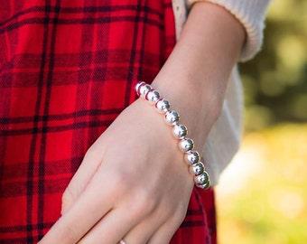 Sterling Silver Sheek Bead Bracelet