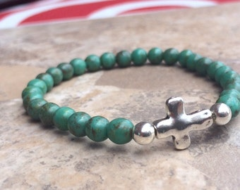 Turquoise Beaded Bracelet with Silver Cross, Turquoise Bracelet, Silver Cross Bracelet, Stretch Bracelet