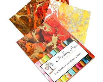 """Marbled Mulberry Momi  Paper in Orange/Yellow Colors for Arts, Crafts and Scrapbooking (12 Sheets of 8.5"""" x 11"""" Paper)"""