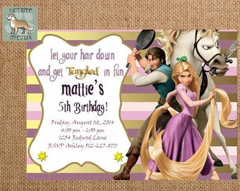 Personalized Tangled, Rapunzel Birthday Invitation plus a free personalized Thank you card with purchase