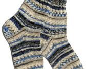 Knitted socks Hand knitted wool socks Winter socks from sock yarn with kid mohair Blue beige white gray black striped socks Sleeping socks