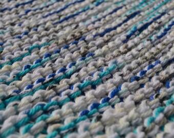 "Bath mat, READY TO SHIP! 100% cotton kitchen rug, machine washable bath mat, 2 strands of cotton yarn bedroom knit rug, 16"" x 23"""