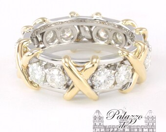 1.70TCW Charles & Colvard Moissanite Yellow and White Gold Two Tone X-Band