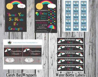 Baby shower Rainbows and Hugs and Everything Nice Invitation Kit