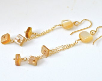 Dangling Shell Earrings, Gold Chain Earrings, Gold Dangle Earrings, Mother of Pearl Earrings, Shell Earrings