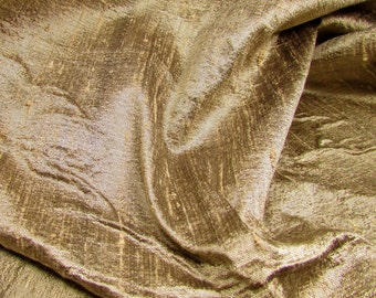 "Khaki Glow: Silk Dupioni Fabric, 25"" x 24"""