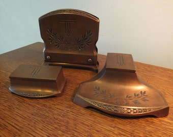 Antique Jennings Brothers Copper Arts and Crafts Inkwell, Letter Holder, and Stamp Box Desk Set