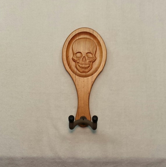 Guitar hanger human skull carving by uniquewoodworker