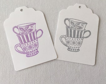 Tea Cup Gift Tags- Tea Party Tags- Tea Time - Tea Party Favor Tags