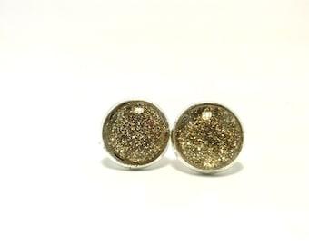 SALE - Gold Glitter Earrings, Gold Earrings, Glass Cabochon Earrings, Glitter Jewelry, Stud Earrings, Post Earrings, Round Earring