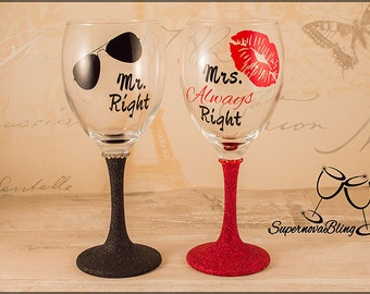 MR right and MRS ALWAYS right Personalised wine glass glitter sunglasses lips