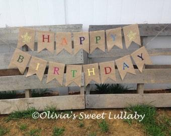 Happy Birthday Banner-Custom Burlap Banner- Party Decor- Birthday Decor- Photo Prop- Burlap Banner- Birthday Bunting- First Birthday