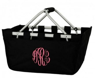 Large Market Tote! Black Market Tote! Game Day Tote! Monogram Included!