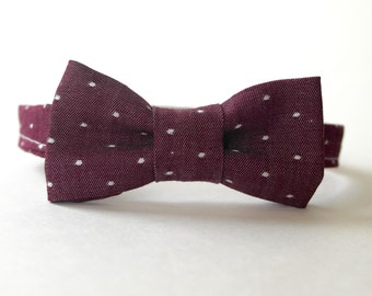 Chambray Burgundy Dots Bow Tie