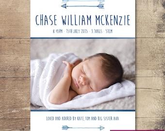 Printable Arrows Birth Announcement / Customisable Digital File / JPG or PDF / Blue, White
