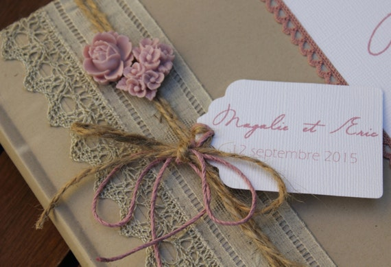 livre d 39 or gamme mariage romantique dentelle et rose. Black Bedroom Furniture Sets. Home Design Ideas