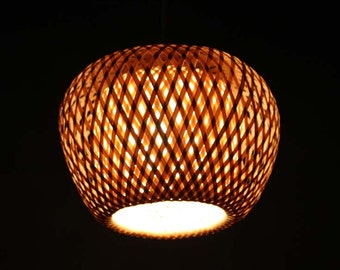 Bamboo Small Double Lampshade Pendant Lamp-Bamboo Lighting-Home Deco-Ceiling lighting-Hanging Lamp 110-240V/50Hz