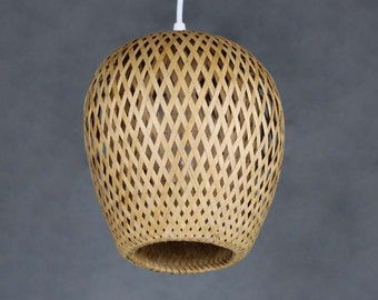 Double Lamp Shade Hand Woven From Bamboo Pendant Lamp One E27 Lighting Lampholder 110-240V/50Hz Natural Bamboo Colour