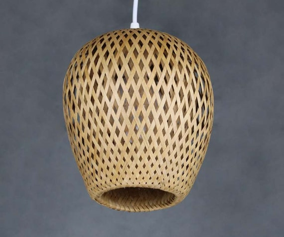 Double Lamp Shade Hand Woven From Bamboo Pendant Lamp One E27
