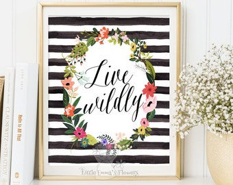 Live Wildly Inspirational Print Wall Decor printable art poster Typography Modern decor digital typography kids decoration Watercolor 3-39