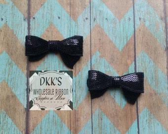 2 Black Sequin Applique Bows/Wholesale/Black/2.8 inches