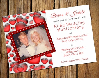 40th Ruby Wedding Anniversary Party Invitations No 2
