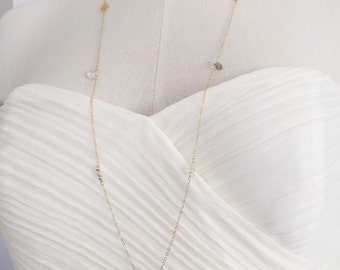 CATALINA gold charm long necklace, 14k gold fill long necklace, layering long gold necklace, dainty long gold necklace