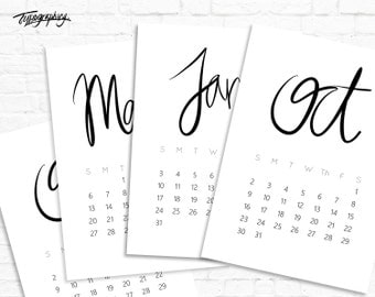 SALE! 50% OFF! Limited Time Only - 2016 Minimalist Typography Printable Calendar
