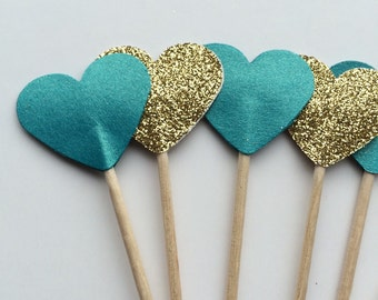 Teal and gold cupcake toppers perfect for weddings deco weddings birthdays and all other celebrations