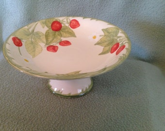 "Franciscan California Pottery Embossed Strawberry Flair Large 8"" Compote"