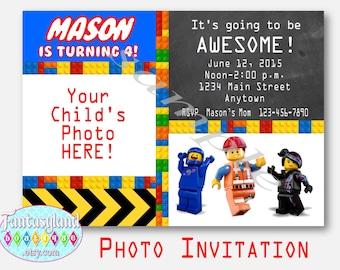 Lego Inspired Invitation, Photo Invitation, Printable Party Invitation, Movie Birthday Party, Lego Movie