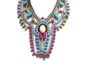 GODDESS neon yellow, blue, pink, lilac & multi-tone white hand painted rhinestone super statement necklace