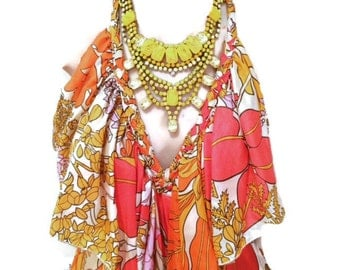 SUNSHINE hand painted yellow statement bib rhinestone necklace
