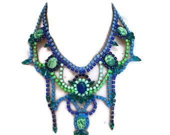 AQUARIUM neon green, green & blue painted rhinestone necklace