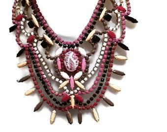 MULBERRY marsala hand painted rhinestone statement bib necklace