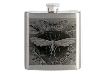 Drinking Flask, Moth Design, Art Nouveau, Insect Flask, Lepidoptera, Sci Fi, Geekery, Silver tone Flask, Wedding Gift