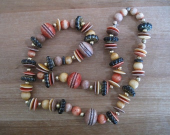 Faux Dyed Ivory Bead Necklace - 208