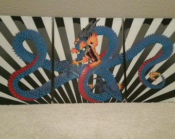 3 canvas dragon painting