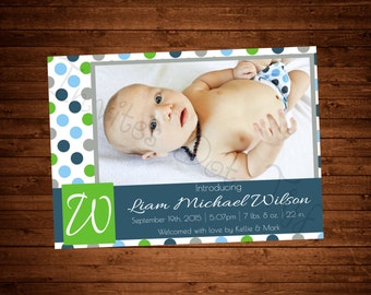 Polka Dot Printable Birth Announcement with Picture! (Many Colors Available!)
