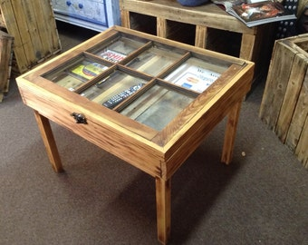 Reclaimed Wood Window Side Table