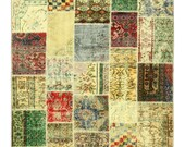 Turkish Patchwork Rug, Free Shipping, Patchwork Rug, Patchwork Carpet, Overdyed Patchwork Rug, Handwoven Vintage Carpet, Oriental Rug