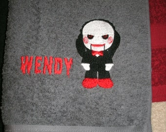 Personalized Jigsaw Saw Horror Bath Towel  Any Color