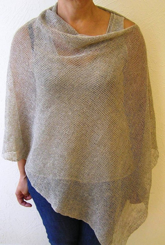Reine leinen poncho cape grau wickeln poncho leinen pullover for Moderne schals stricken