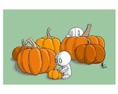 Pumpkins! - 5x7, 8x10, 12x18, Art Print, Illustration