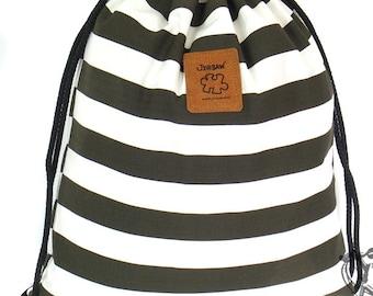 10% OFF [Origi 14.99] Striped drawstring bag, White & Deep Green, Canvas Cotton Backpack Hip bag Laptop bag Handmade bag