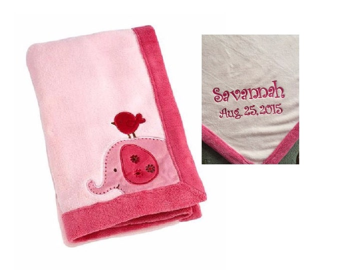 Elephant Raspberry Jungle Applique Coral Blanket, Baby Blanket -  Personalized Monogrammed