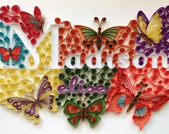 Custom Name Wall Hanging: Quilling, Butterfly Art, Girl Bedroom or Nursery Decor
