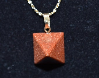 Vintage,Natural Goldstone Pyramid Necklace  (1050015)
